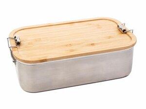 "XL Edelstahl Lunchbox ""Bamboo"" mit Deckel aus echtem Bambus - Cameleon Pack"