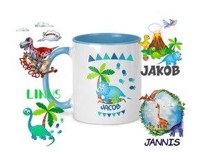 Keramiktasse Dinos Motive, personalisiert - wolga-kreativ