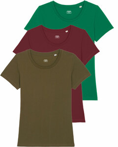 3er Pack Basic T-Shirt Damen dreifarbig sortiert, Bio-Baumwolle - YTWOO