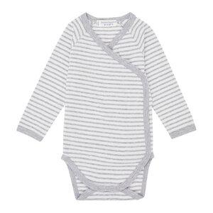 Baby Wickelbody Langarm *YGON* grey- stripes I GOTS & Bio I Sense Organics - sense-organics