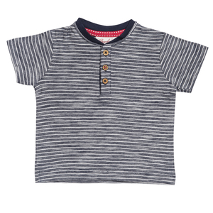 Baby T-Shirt blau geringelt biologisch People Wear Organic - People Wear Organic