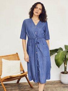 Blaues Midi-Kleid ESTHER aus Tencel - Thought