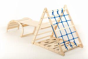 Affenling Kletterset – dreiseitiges Kletterdreieck mit Rutsche & Wippe - Kletterling Holzspielzeug