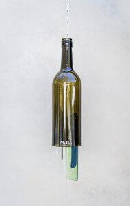 Windspiel mit der 0,7l Bordeaux Flasche in oliv - MaBe