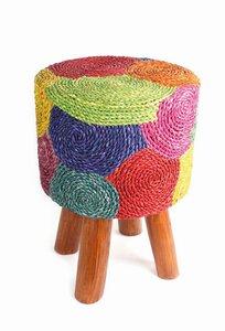 Hocker handgefertigt aus Holz und Seegras - El Puente
