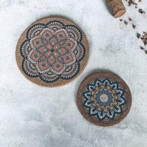 Kork Untersetzer für Gläser - Mandala Muster 2er Set - Living in Kork