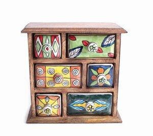 Kleine Kommode aus Holz und Keramik - El Puente