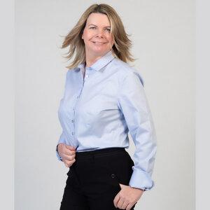 Hemdbluse aus Bio Baumwolle 100% für A-Körperformen in Blau - normale Länge - bügelfrei - YOU&JJ