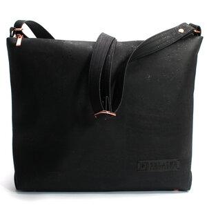 Schwarze Tasche aus Kork / Rosegold / vegan - Belaine Manufaktur