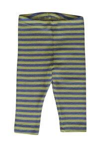 Kinder Leggings blau/grün geringelt Schurwolle/Seide - Engel natur