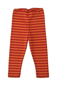 Baby Leggings rot/orange geringelt Schurwolle/Seide - Engel natur