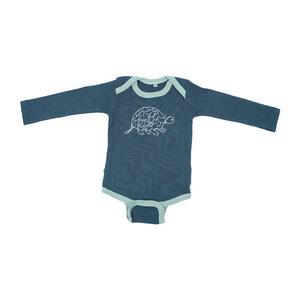 Langarmbody Baby Body aus Bio-Baumwolle TORTOISE Dunkelgrün. Handmade in Kenya - Kipepeo-Clothing