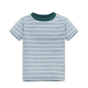 Gestreiftes Kinder T-Shirt Himmelblau - internaht