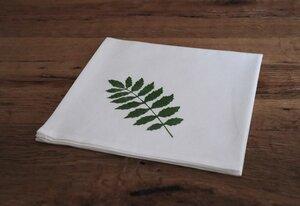 """Stoffserviette und Stofftasche """"Pflanzeblatt"""" handbedruckt - luscinia"""