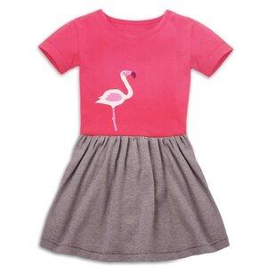 Sommerkleid mit Flamingo-Applikation für Mädchen - internaht