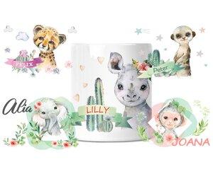 Spardose mit Afrikatiere für Kinder mit Namen personalisiert - wolga-kreativ