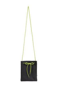 Handtasche TEA aus wunderschönem schwarz meliertem Leder mit neon Band. - ELEKTROPULLI