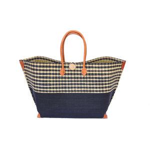 Strandtasche MERY GROSS Karo / Uni mit Leder Griffen (Maße: 62/45 x 36 x 23 cm) - frosch und rabe