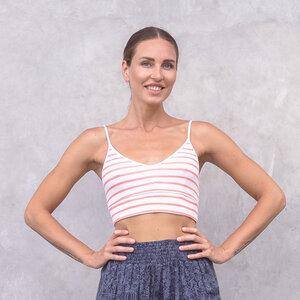 MARINE STRIPES - Damen - Bra/Bustier/Croptop für Yoga aus Biobaumwolle - White - Jaya