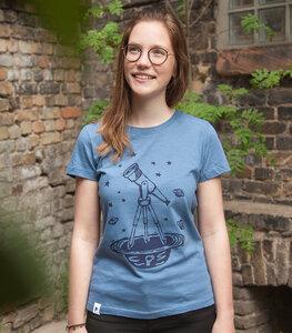 Teleskop mit Sternen - Frauen T-Shirt - aus Baumwolle Bio - Slub Blau - päfjes