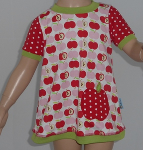 T-Shirtkleid 'an apple a day' rot - Omilich
