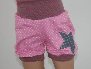 kurze Kinder-/Baby-Mitwachshose Punkte-Stern rosa - Omilich