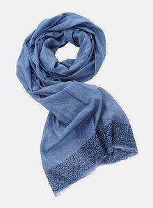 Großer Schal aus Bio-Baumwolle – dunkelblau mit Blockdruck 3209-B - Djian Collection