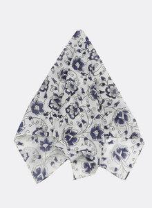 Kleines Tuch aus Bio-Baumwolle – Bandana, blaue Blumenranken 3213-S - Djian Collection