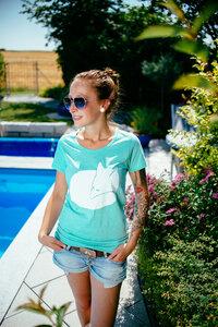 Fuchs Women Organic T-Shirt _ turquoise - ilovemixtapes