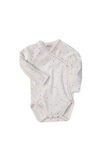 Baby Wickelbody Langarm Natur rosa mit Sternchen Bio Baumwolle - People Wear Organic