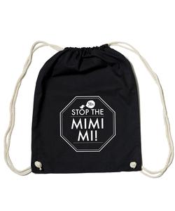 Bio Gym Bag - Festival Turnbeutel Black 'MIMIMI' - SILBERFISCHER