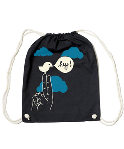 Bio Gym Bag - Festival Turnbeutel Black 'Birdy Hey' - SILBERFISCHER