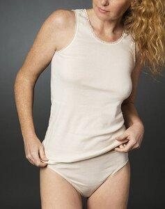 Hemd ohne Arm mit Spitze in natural, Biobaumwolle 4377 - Living Crafts