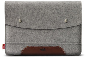 "Macbook 12"" Hülle Hampshire 100% Merino Wollfilz und Leder - Pack & Smooch"