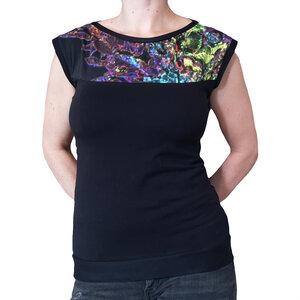 Bio Jersey Shirt mit U-Boot Ausschnitt schwarz neon - liebewicht