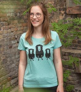 3 Schafe auf der Wiese - Fair Wear Frauen Bio T-Shirt - Mintgreen - päfjes