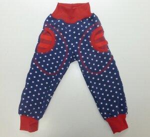 Kinder-/Baby-Mitwachshose mit Taschen Sweat  Stars blau-weiß - Omilich
