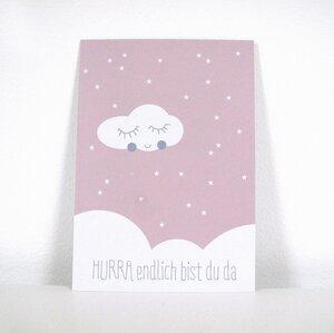 Postkarte HURRA in rosa - ava&yves