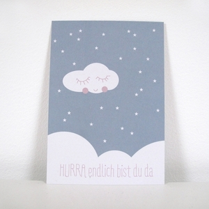 Postkarte HURRA in blau - ava&yves