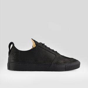 argan low / schwarzes glattleder / schwarze sohle - ekn footwear