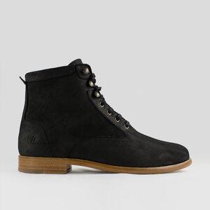 Desert High / Schwarzes geöltes Glattleder / Ledersohle - ekn footwear