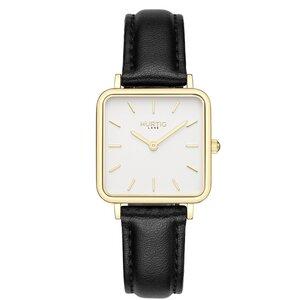 Neliö Quadratische Veganes Leder Uhr Gold/Weiß - Hurtig Lane