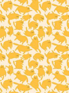 Yellow Cats Pattern - Poster von Ania Więcław - Photocircle