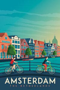 Amsterdam Vintage Travel Wandbild - Poster von François Beutier - Photocircle