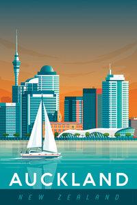 Auckland Vintage Travel Wandbild - Poster von François Beutier - Photocircle