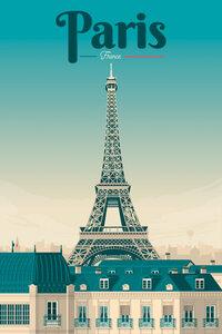 Eiffelturm Paris Vintage Travel Wandbild - Poster von François Beutier - Photocircle