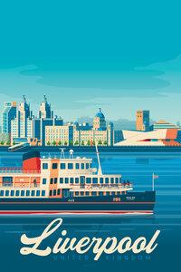 Liverpool Vintage Travel Wandbild - Poster von François Beutier - Photocircle