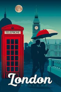 London Vintage Travel Wandbild - Poster von François Beutier - Photocircle