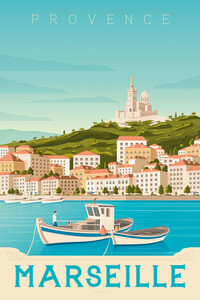 Marseille Vintage Travel Wandbild - Poster von François Beutier - Photocircle