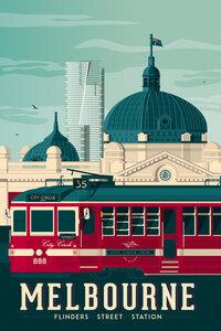 Melbourne Vintage Travel Wandbild - Poster von François Beutier - Photocircle